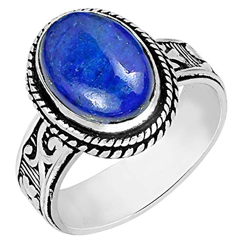 Lapis Ring Size 8 925 Silver Overlay Vintage Style Handmade Solitaire Ring