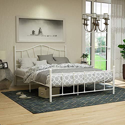 mecor Metallbett 160x200 Bettgestell Bettrahmen mit Lattenrost Gästebett Doppelbett Bettrahmen Jugendbett mit geschwungenes Kopfteil Design, Bett In weiß
