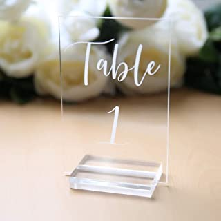 UNIQOOO Acrylic Wedding Table Numbers 1-20 | 4x6 inch Printed Calligraphy, Clear Table Number Signs | Perfect for Reception, Centerpiece Decoration, Restaurant, Event, Party -Base NOT Included
