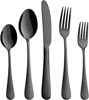 Devico 20-Piece Flatware Set, Stainless Steel Utensil Silverware Metal Cutlery Sets with Forks Spoons Knives, Reusable, Dishwasher Safe, Service for 4 (20-Piece Black)
