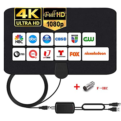 MILIWAN Indoor TV Aerial 150 Miles Digital HDTV Antenna with Amplifier Signal Booster Freeview TV Antenna 4K 1080P VHF UHF for Local Channels Support ALL Television - 14.4FT Coax Cable
