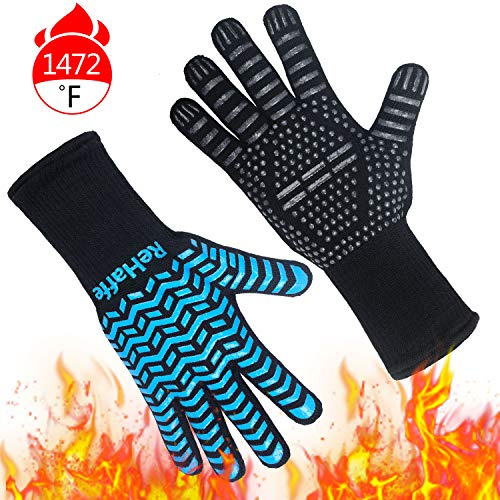 ReHaffe Grill Gloves Heat Resistant 1472℉ Food Grade Kitchen Cooking Gloves NonSlip BBQ Grilling Gloves Smorker Gloves for BarbecueGrillingCooking Baking Cutting