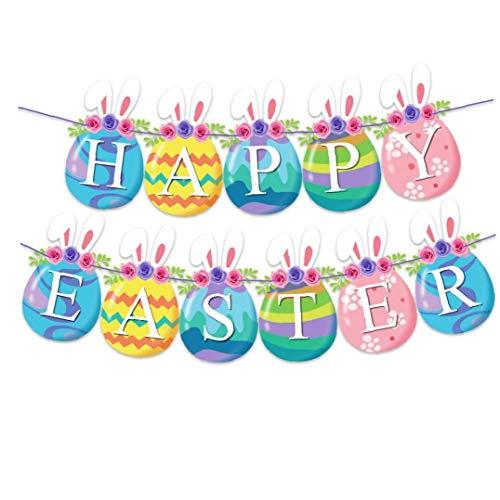 Garland Pascua Kit de Papel de Pascua Banderas temáticas Que cuelga la decoración del hogar de Pascua Fiestas de cumpleaños