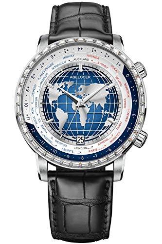 Agelocer Reloj de moda de calendario mecánico de la hora mundial de los hombres de la marca superior de diamantes genuinos, Nk_5201e1,