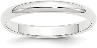 ICE CARATS Platinum 3mm Half Round Wedding Ring Band Size 10.50 Classic Domed Fashion Jewelry Ideal Gifts For Women Gift S...