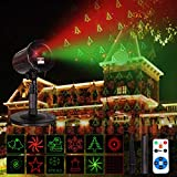 Christmas Laser ProjectorLights Outdoor Indoor Waterproof LEDProjection Landscape Spotlight DecorativeGarden Patio Wall for Xmas Newyear Holiday Party 12 Patterns Starshow Red&Green
