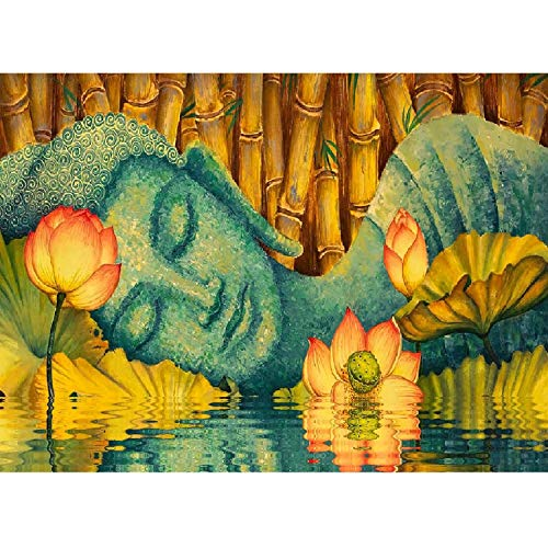 Jigsaw Puzzle 1000 Piece Lotus Sleeping Buddha Adult Puzzle DIY Kit Wooden Puzzle Modern Home Decor Unique Gift