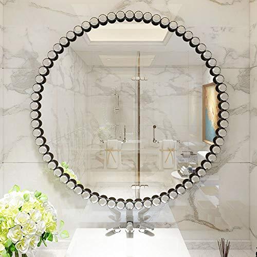 Espejo de baño Espejo Redondo de Diamante acrílico montado en la Pared, Espejo Redondo de Hierro HD, Espejo de Maquillaje/Espejo Decorativo/Espejo de Afeitar/Espejo de tocador