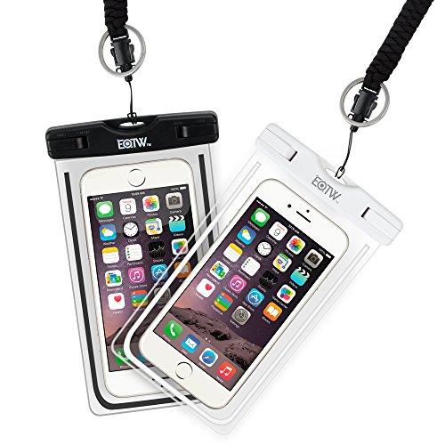 EOTW 2 Stück wasserdichte Handy Hülle, Wasser- und staubdichte Hülle für iPhone, Samsung, Nexus, HTC und mehr, Super Hülle für den Strand und Wassersport (White+Black)