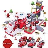 VanFty La policía, camiones de Ingeniería, el coche de bomberos que se transforma en la casa del fuego y el aparcamiento del coche de bomberos, Parking Garaje Toy Playset Educación de la Primera inerc