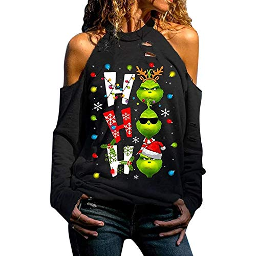 ZGHYBD Christmas Long Sleeve Women Sweatshirt for Women Cool & Fashion Sweatshirt Top Printed with Letters Grinches Cutout Cold Shoulder Sweatshirt Tops S Black