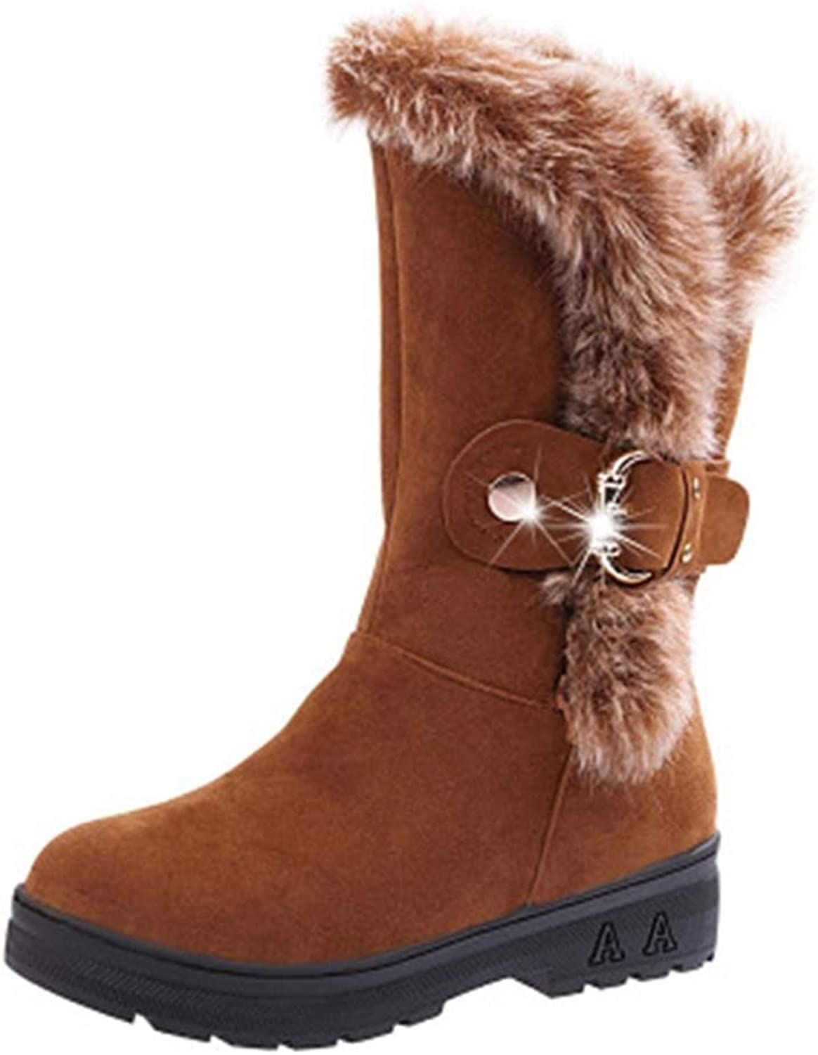 GIY Women's Winter Warm Fur Snow Boots Mid Calf Buckle Waterproof Platform Slip On Fashion Wide Snow Boots