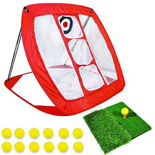 Bunzzr Pop Up Golf Chipping Net with Dual-Lie Turf - Indoor/Outdoor Golf Training Set - Golf Game with Rubber Mat and Golf Practice Net - Golf Training Accessory with 12 Foam Golf Balls and Golf Tee