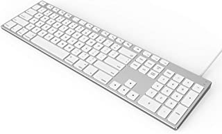 USB Wired Keyboard for Apple Mac, Aluminum Full Size Computer Keyboard with Numeric Keypad Compatible with Magic, iMac, Ma...