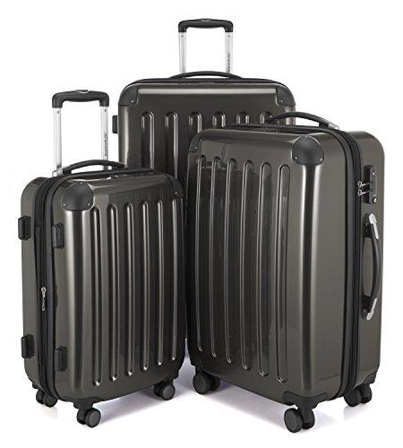 HAUPTSTADTKOFFER - Alex -  4 Doppel-Rollen 3er Koffer-Set Trolley-Set Rollkoffer Reisekoffer, TSA, (S, M & L), Graphit