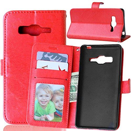 Fatcatparadise Kompatibel mit Samsung Galaxy Z3 Hülle + Bildschirmschutz, Flip Wallet Hülle mit Kartenhalter & Magnetverschluss Halterung PU Leder Hülle handyhülle (Rot)