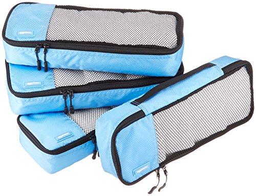 AmazonBasics Schmale Kleidertaschen, 4 Stück, Himmelblau