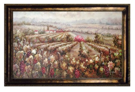 "Hand Painted 24"" X 48"" Canvas Landscape Oil Painting for Wall Art Decor, Italian Tuscany Vineyard Field of Grapes Oil Painting (Plastic) Other Frame Options Available"