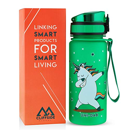 Leakproof Lightweight Kids Water Bottle - 12oz - BPA FREE & NON-Toxic - Fast or Slow Flow - Single Action Lid - Eco-Friendly & Durable TRITAN Material - Reusable - Unicorn Approved (Lime Green)