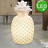 Tisch Lampe Schlaf Zimmer Ananas Form Porzellan Lese Leuchte weiß im Set inklusive LED Leuchtmittel