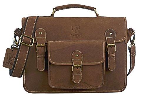 """J WILSON London - Designer Genuine Real Distressed Vintage Hunter Leather 15"""" Laptop Handmade Unisex Crossover Shoulder Messenger Bag"""