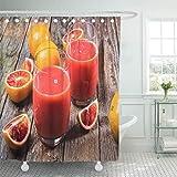 QYGA-3BU Cortina de Ducha Citrus Red Bio Blood Orange Juice Ice and Slice Cortinas de Ducha con 12 Ganchos 60x72 Pulgadas