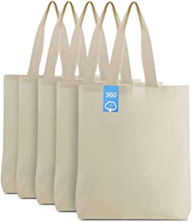 Simply Green Solutions Blank 100% Cotton Material Reusable Cloth Gusseted Bags - Set of 5 - Tote Bags for School Tote Bags...
