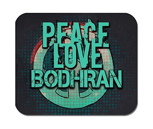 Makoroni - Peace Love Bodhran Music- Non-Slip Rubber - Computer, Gaming, Office Mousepad
