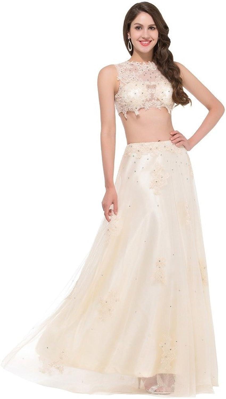 BessWedding Charming Elegant Women's 2 Pieces Sleeveless Beaded Bateau Dresses