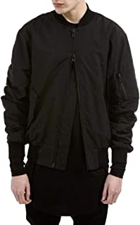 LETSQK Men's MA-1 Air Force Solid Classic Flight Bomber Jacket with Harness