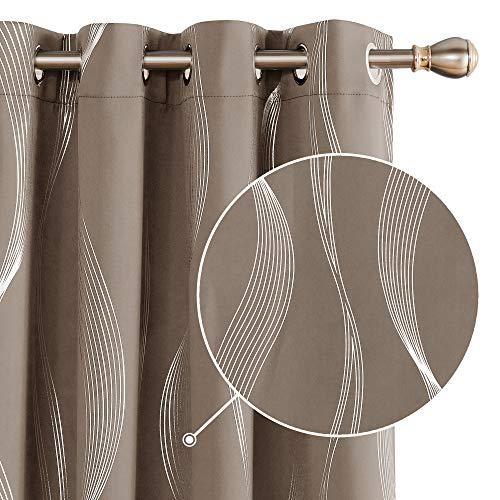 Deconovo Verdunklungsvorhänge Gardinen Thermovorhang Schlafzimmer Muster 175x140 cm Taupe 2er Set