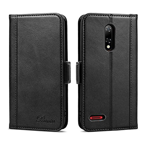Rssviss Funda Ulefone Note 8P Cáscara de Piel PU 4 Ranuras para Tarjetas y Moneda con Cierre magnético Estuche para Ulefone Note 8P Flip Case, 5.5 Pulgadas Negro