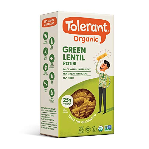 Tolerant Organic Gluten Free Green Lentil Rotini Pasta, One 8 Ounce Box, Plant Based Protein, Vegan Pasta, Single Ingredient Protein Pasta, Whole Food, Clean Pasta, Low Glycemic Index Pasta