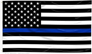 Pointview Flags Thin Blue Line American Flag - Thin Blue Line USA - Bright and Vivid Color, Double Stitched - Honoring Law Enforcement Officers - 3 x 5 ft with Grommets