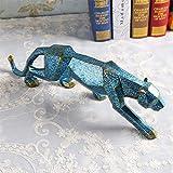 LINDU Sección geométrica Origami Leopardo Estilo nórdico decoración del hogar decoración de Resina salón Familiar vinoteca decoración, Azul
