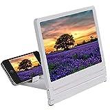 携帯電話の画面3D拡大鏡を大きく2-3タイムズハイ・デフィニションアンプ折り畳み式の電話ブラケットホルダー (Color : White)