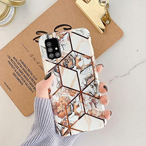 MoreChioce kompatibel mit Samsung Galaxy A71 Hülle,Galaxy A71 Handyhülle Glitzer,Luxuriös Geometrie Marmor Blume Silikon Schutzhülle Transparent Kratzfest Rückschale Tasche Bumper,Blätter #1