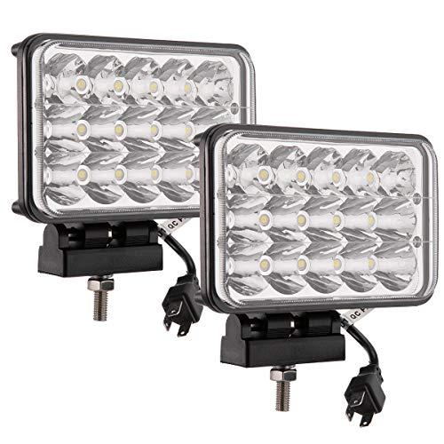 Lightronic Paire 45 W rectangulaire 10,2 x 15,2 cm LED Ampoule de phare Camion lumière Ambre spot haute basse Faisceau lampe de brouillard 4 x 4