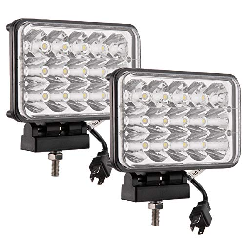 Lightronic 4X6 Inch Rectangular 45W 6000K Cool Bright White LED Off-Road Auxiliary Driving Light/Work Light for Tractors & Agriculture Vehicles, Driving/Spot Combo Hi Low Beam, IP69 Waterproof, 2 PCS