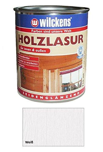 Wilckens 2,5 L. Holzlasur Innen & Außen, wasserverdünnbar, Weiß Seidenglänzend
