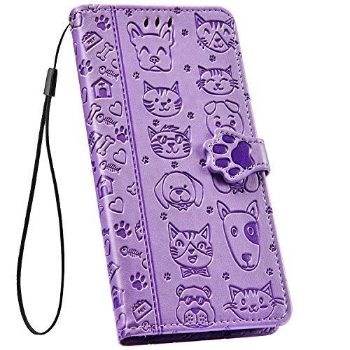 Ysimee kompatibel mit Samsung Galaxy S9 Hülle Handyhülle [PU Leder] [3-Kartenfächer] [Magnetverschluss] Flip Case Handy Tasche Schale Etui Schutzhülle Lederhülle Magnet Klapphülle Cover, Hund Lila