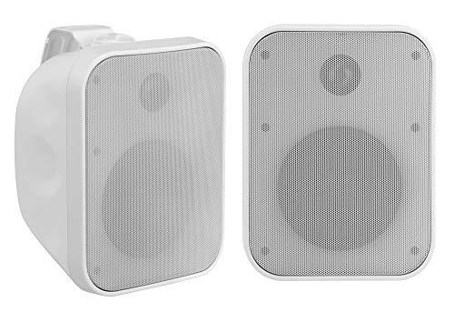 Paar Pronomic OLS-5 WH DJ PA Outdoor-Lautsprecher für Garten, Terrasse, Restaurant (2X 80 Watt, Schutzart IP56, 8 Ohm, 5,25