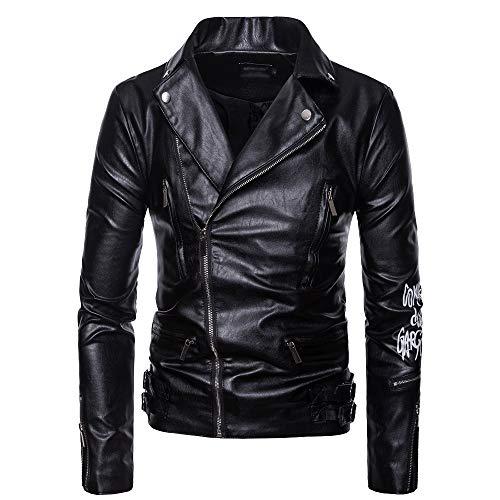 BAGEE Chaqueta de Cuero de la Motocicleta de los Hombres, Casual Punk asimétrico del Motorista de la Blusa Superior Multi-Zip impresión de la Solapa de la Moto Abrigos
