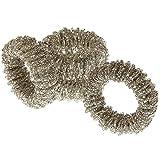 MACOSA WV49369 - Juego de 4 servilleteros redondos de plata con perlas de cristal de 8 cm, decoración para mesa festiva, soporte para servilletas, decoración moderna