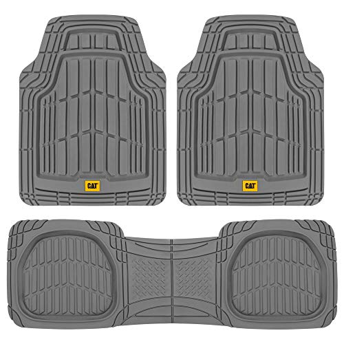 Caterpillar CAT (3-Piece) Deep Dish Heavy Duty Odorless Rubber Floor Mats, Total Protection Durable Trim to Fit Liners for Car Truck SUV & Van, All Weather, 03-Gray (CAMT-1003-GR)