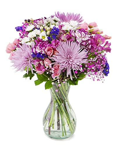 Delivery by Wednesday, September 15th Arabella Bouquets Purple Extravagance with Vase (Fresh Cut Flowers)