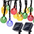 Joomer 2 Pack Globe Solar String Lights, 20ft 30 LED Outdoor Bulb String Lights,Waterproof 8 Modes Solar Patio Lights for Patio, Garden, Gazebo, Yard, Outdoors (Multi-Color)