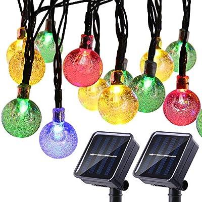 Joomer 2 Pack Globe Solar String Lights, 20ft 30 LED Outdoor Bulb String Lights,Waterproof 8 Modes Solar Patio Lights for Patio, Garden, Gazebo, Yard, Outdoors (Multi-Color)
