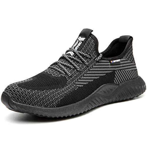 UCAYALI Zapatillas de Seguridad Hombre Calzado de Trabajo Cómodo Zapatos de Seguridad con Punta de Acero Zapatos Protección Deportivos Pasas Negras Gr.43