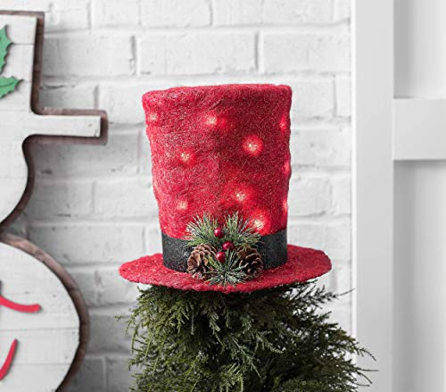 hm Unique Christmas Tree Topper Lighted Top Hat Rattan Deer Head Red Top Hat Peacock Snowman Reindeer Elf Head Top Hat (Red Light up Top Hat)